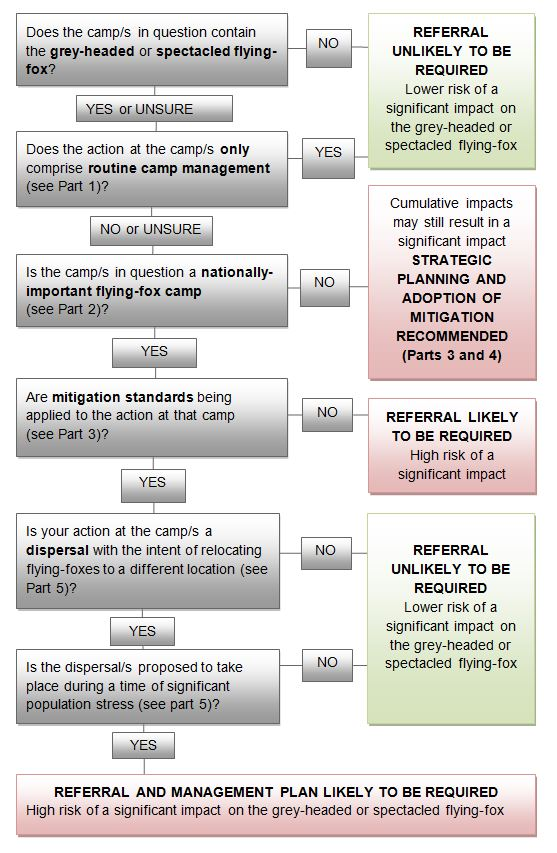 Title: Referral decision-making process for management actions in Grey-headed of Spectacled Flying-fox camps - Description: Flow diagram of decisions to be made on management referral actions for vulnerable flying-foxes
